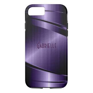 Purple Shiny Metallic Brushed Aluminum Look iPhone 7 Case