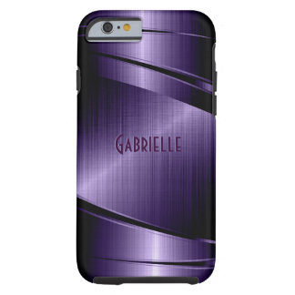 Purple Shiny Metallic Brushed Aluminum Look Tough iPhone 6 Case