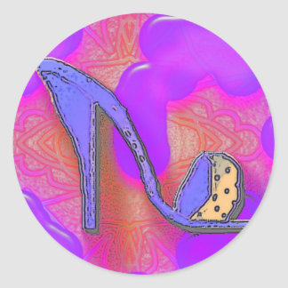 purple shoe on pink and purple background stickers