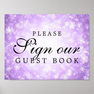 Purple Sign Wedding Guestbook Winter Wonderland
