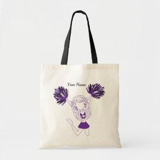 Purple Silhouette Cheerleader Girl Budget Tote Bag