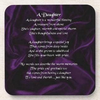 Purple Silk design - daughter poem coaster