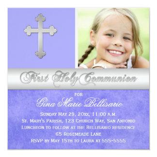 Purple Silver 1st Holy Communion Photo Invitation