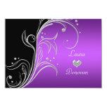Purple Silver Black Floral Swirls Reception Only 13 Cm X 18 Cm Invitation Card