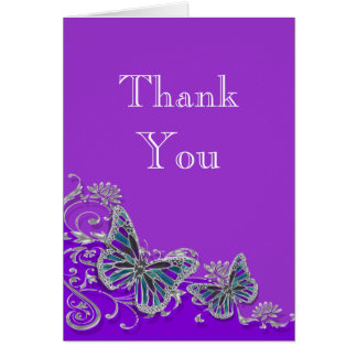 Purple silver blue butterfly wedding card