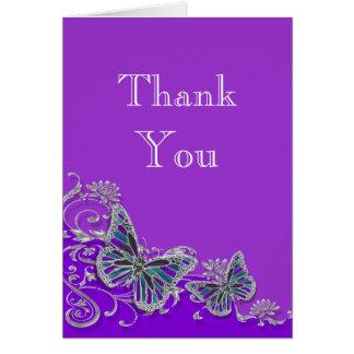 Purple silver blue butterfly wedding card