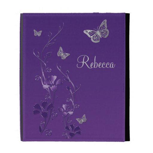 Purple Silver Butterfly Floral iPad (1,2,3) Folio iPad Folio Cases