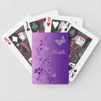 Purple, Silver Butterfly Floral Playing Cards