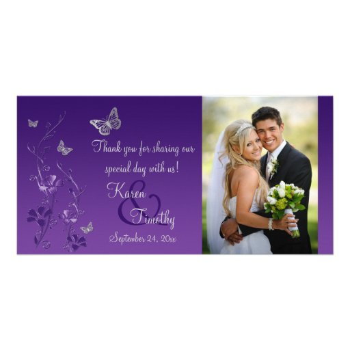 Purple, Silver Butterfly Floral Wedding Photo Card