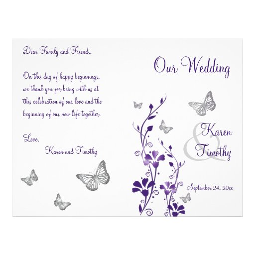 Purple Silver Butterfly Floral Wedding Program Flyers