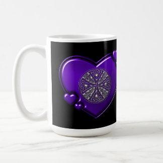 Purple Silver Celtic Cross Black Mug