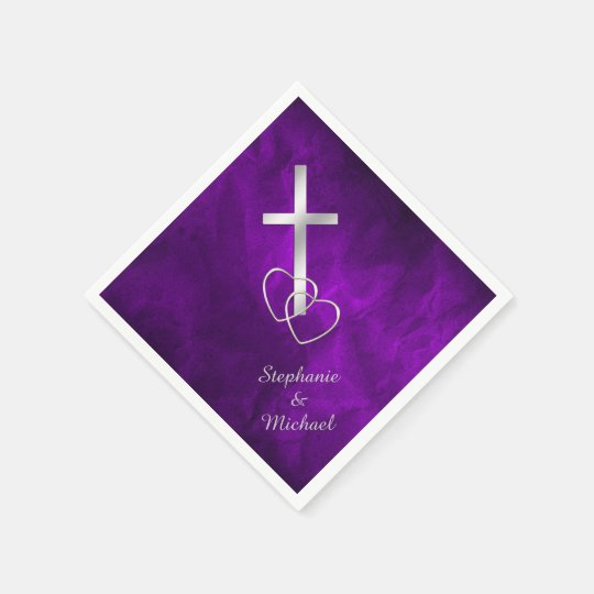 Purple Silver Christian Cross Wedding Disposable Napkins