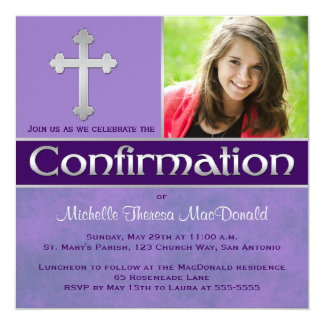 Purple, Silver Confirmation Photo Invite