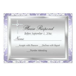 Purple Silver Damask & Cross Baptism RSVP Reply 11 Cm X 16 Cm Invitation Card