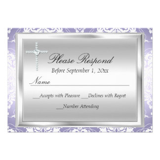 Purple Silver Damask & Cross Baptism RSVP Reply Announcements