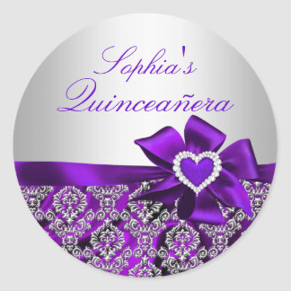 Purple & Silver Damask Quinceanera Sticker