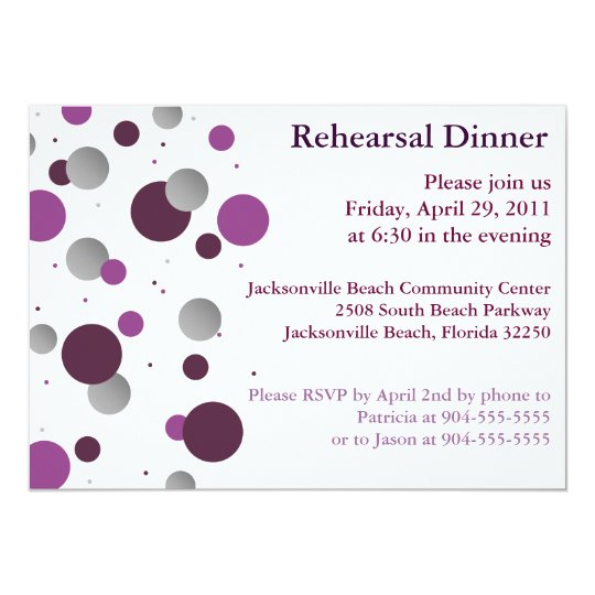 Purple & Silver Dot Rehearsal Dinner Invitation