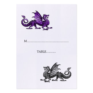 Purple Silver Dragon Wedding Place Card Pack Of Chubby Business Cards