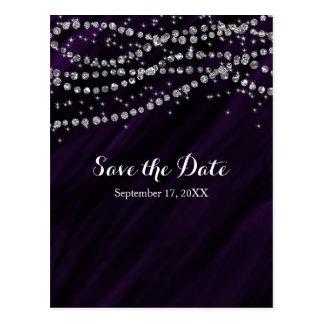Purple & Silver Faux Diamond Bling Save The Date Postcard