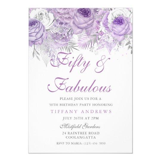 Purple Silver Fifty Fabulous 50th Birthday Invitation
