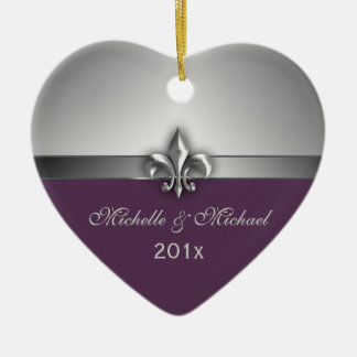 Purple Silver Fleur de Lis Couple First Christmas Christmas Ornament