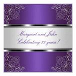 Purple Silver Floral 25th Anniversary Party Event 13 Cm X 13 Cm Square Invitation Card