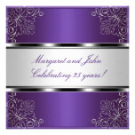 Purple Silver Floral 25th Anniversary Party Event Announcement