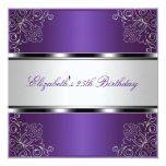 Purple Silver Floral 25th Birthday Party Event Personalised Invitations