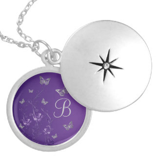 Purple, Silver Floral, Butterflies Monogram Locket