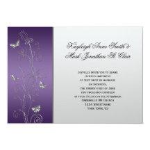 Purple Silver Floral Butterflies Wedding 13 Cm X 18 Cm Invitation Card