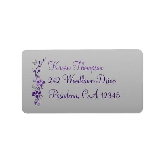 Purple, Silver Floral, Butterfly Address Label