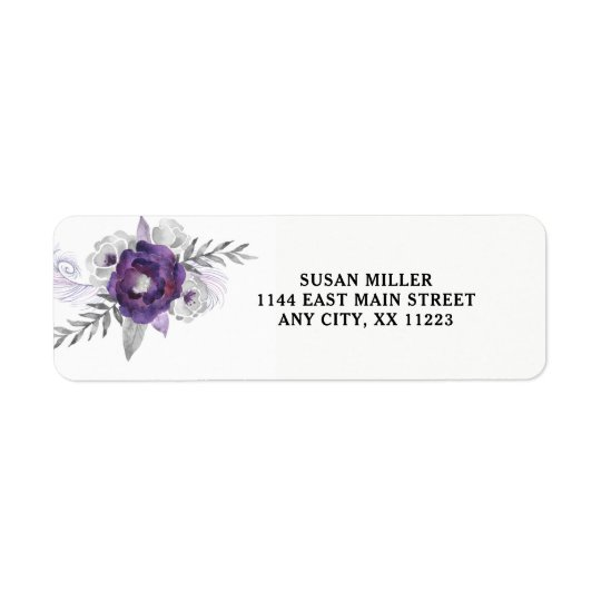 Purple Silver floral return address label 3963