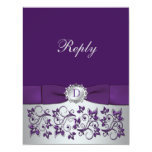 Purple, Silver Floral Scroll Wedding Reply Card 11 Cm X 14 Cm Invitation Card