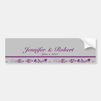 Purple Silver Floral Scroll Wedding Water Bottle Car Bumper Sticker