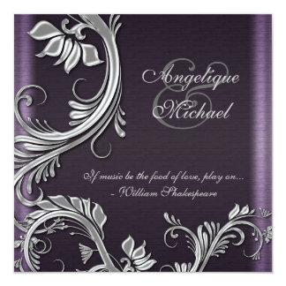 Purple silver floral wedding engagement card