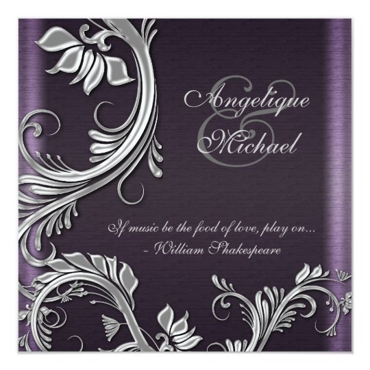 Purple silver floral wedding engagement card