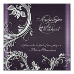 Purple silver floral wedding engagement 13 cm x 13 cm square invitation card