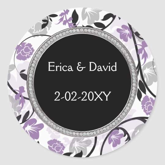 Purple silver floral wedding invitations classic round sticker