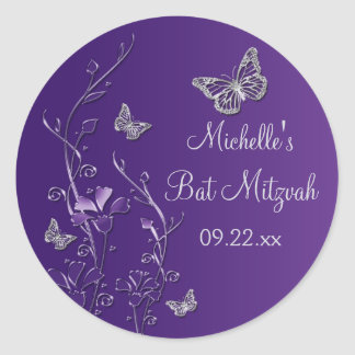 "Purple Silver Floral with Butterflies 1.5"" Sticker"