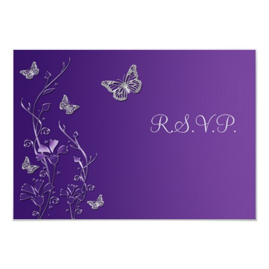 Purple Silver Floral with Butterflies RSVP Card