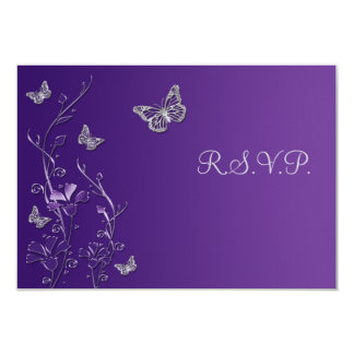 Purple Silver Floral with Butterflies RSVP Card 9 Cm X 13 Cm Invitation Card