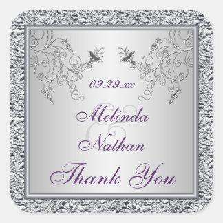 Purple Silver Foil Floral Wedding Favor Sticker