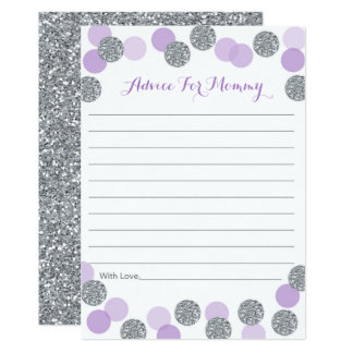 Glitter purple silver baby shower invitations announcements purple amp silver glitter baby shower advice cards filmwisefo Choice Image