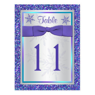 Purple Silver Glitter Snowflakes Table Number Card Postcard