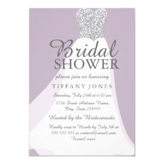 Purple Silver Glitter White Dress Bridal Shower Card