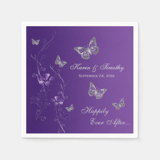 Purple Silver Gray Butterfly Floral Paper Napkins Paper Napkin