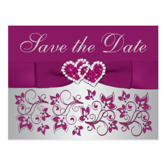 Purple, Silver Gray Floral Save the Date Postcard