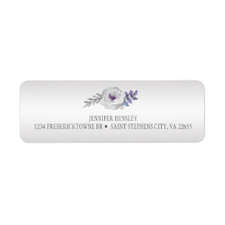 Purple Silver Gray Roses Return Address|