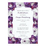 Purple silver grey floral bridal shower invites