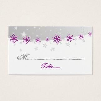 Purple silver grey snowflake wedding place card